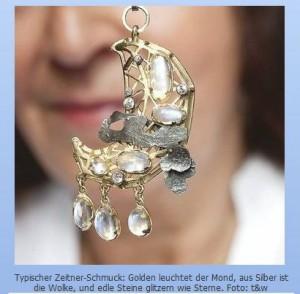 H. Zeitner: Brosche, Gold, Silber, Mondsteine, ca 1970. Foto: t&w